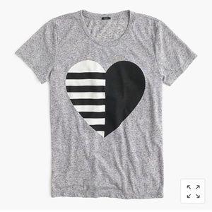 J. Crew • Split Heart Graphic Tee T-Shirt Gray M